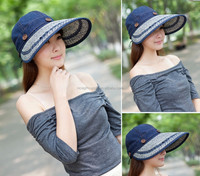 Summer sun hat / women hat / folding beach large brimmed hat