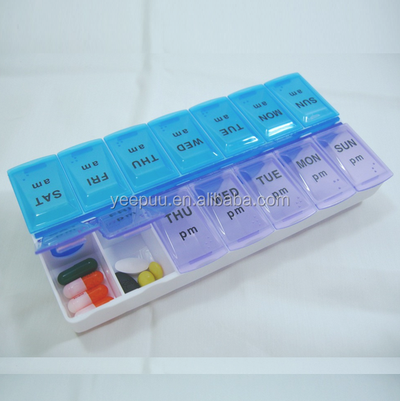 AM/PM 7 days Push button each colors may vary/X-large Pill Organizers