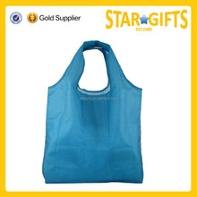 Portable lightweight rolling up shopper bag blank polyester folding shopping bag