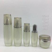 Rice white glass bottles cosmetic packaging,glass cosmetic bottle,antique cosmetic glass bottles with rice white cap