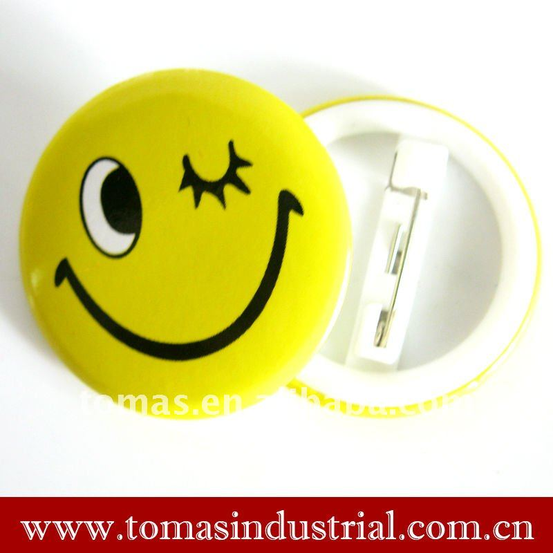star smiley face tinplate insignia