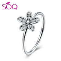 Simple style silver wedding ring thin round rope charm flower accessories jewelry sterling silver ring