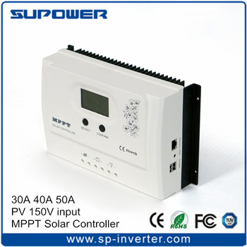 99% max. efficiency PV input DC 150V 10A 30A 40A 50A MPPT Solar Charge Controller PV Regulator