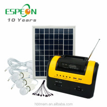 2017 Solar lighting system 10W 12V solar home system for lighting ,with Radio ,FM
