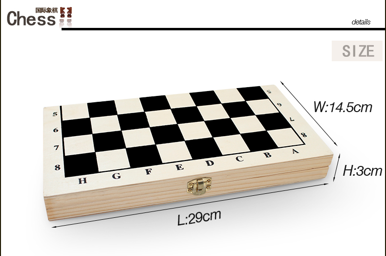Folding wooden chess set with wooden chess pieces, wooden travel board game
