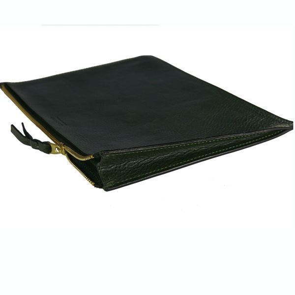 Zipper genuine leather case for ipad 2 3 4