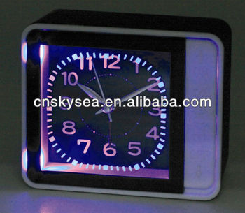 Plastic square luminous table alarm clock