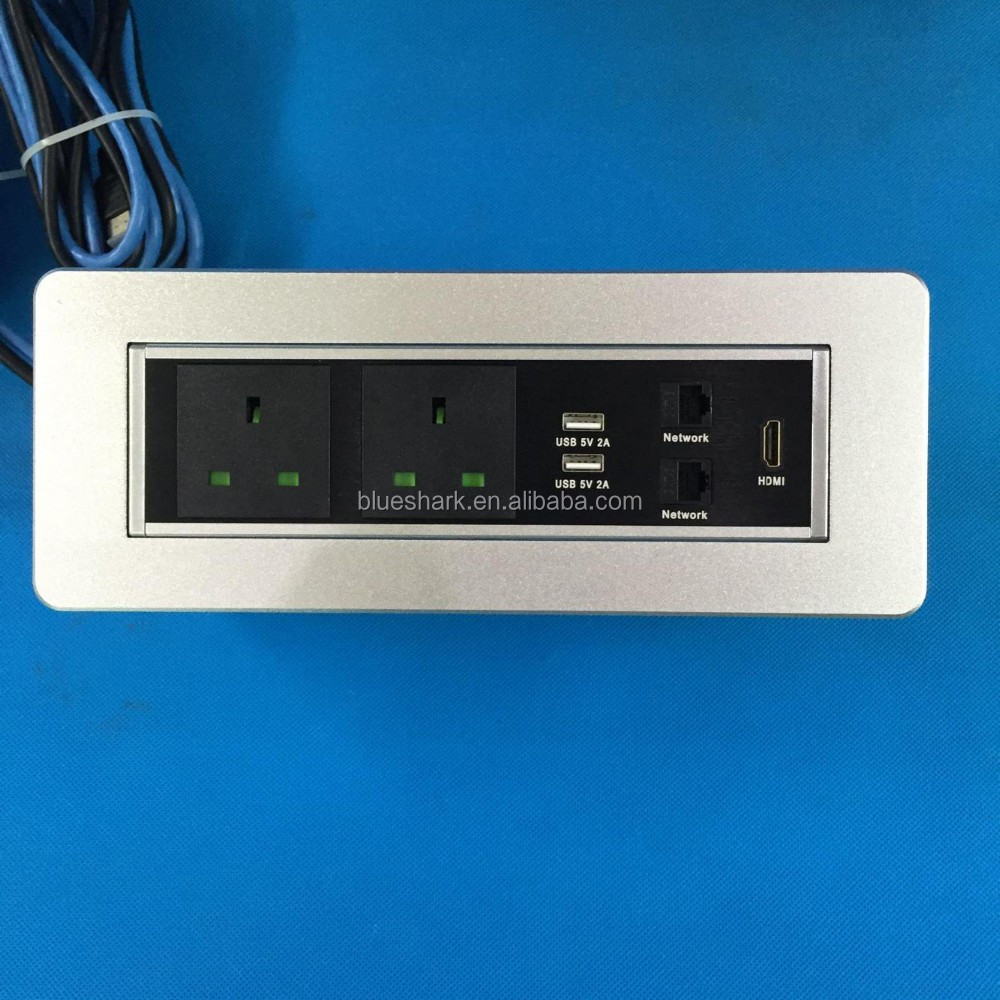 New Design Multimedia Desktop Flip Universal Electrical Power Socket Box for Conference