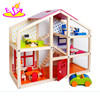 New Hot Wooden Toy House for Kids Child Educational Wooden Assembling Set DIY Dollhouse with Furniture W06A098