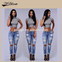 New model fashion ripped denim jeans usa sexy ladies leggings sex photo women jeans for wholesale in 2016