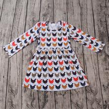 2016 yawoo latest chicken patterns long sleeve knitted cotton girl fancy frocks