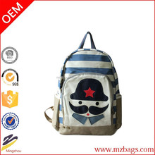 Adorable Contrast Color Stripe Print Cartoon Mustache Print Backpack