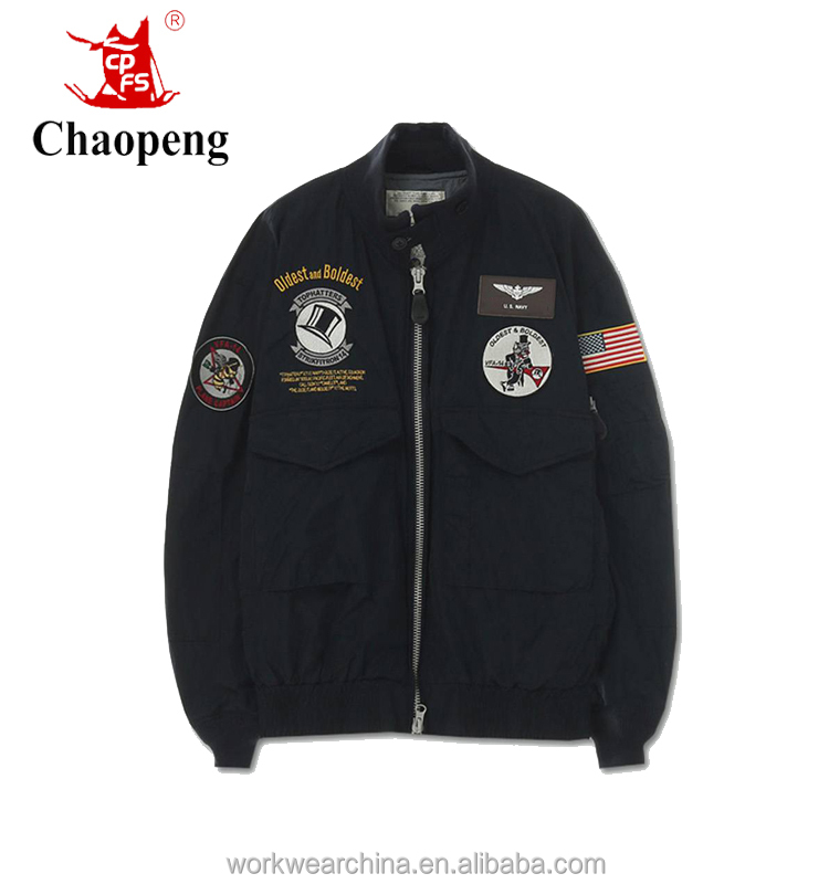 Spring Embroidery Classic style Ma-1Bomber man aviator jacket in Black