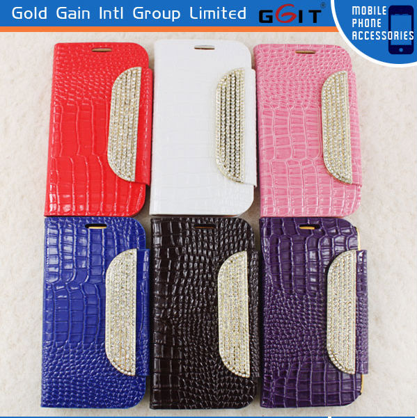 Simple Diamond Latch Snake Skin Flip Cover Leather Case For Samsung S4 I9500 With Wallet