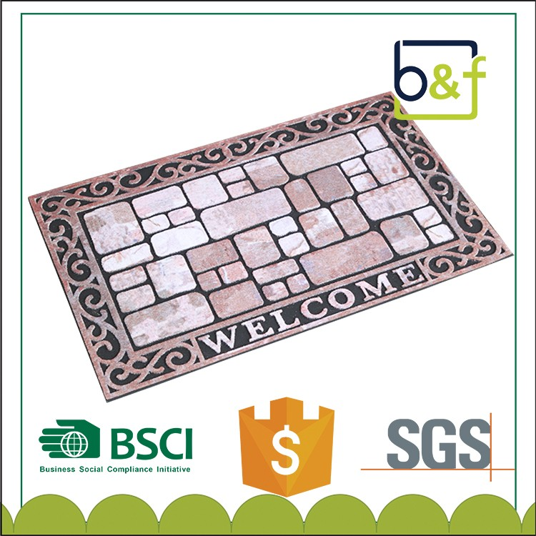 Stone Transfer Printing Rubber Floor Mat For Outdoor