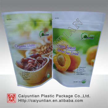New products colorful laminated organic dried stand up food safe zipper packaging bag