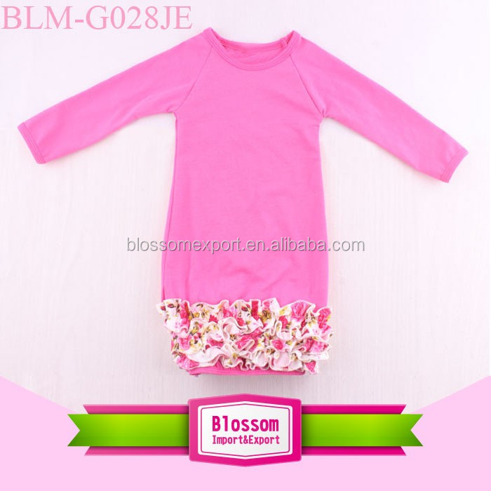 Factory outlet children long sleeve icing ruffle raglan blank gown soft cotton blossom infant gown dress ruffle christening gown