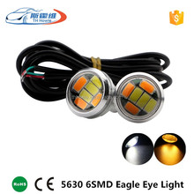 Car Led Dual Color Eagle Eye Light 23mm 5630 6 SMD DRL Daytime Running Lamp Auto Turn Parking bulb styling White+Amber DC 12V