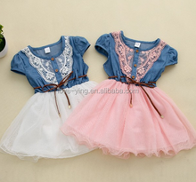 2016 new fashion casual baby Girls designs baby Lace Belt tutu cowboy girls dresses 2016