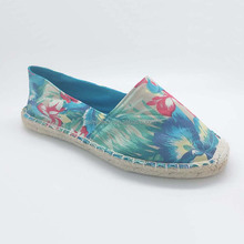 New style women flower print design jute espadrille fabric casual shoes