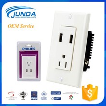 With USB charging port children protected wall mounted power electrical outlet multiple socket