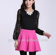 2014 women casual blouse back neck design casual blouse and skirt