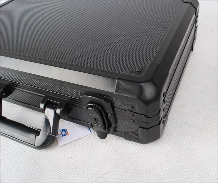 Whole black MDF/ABS portable aluminum storage case