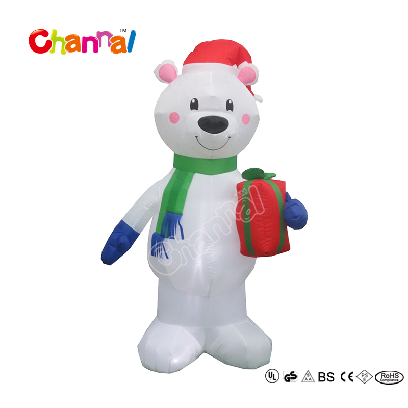120cm High Outdoor Christmas Decorative Inflatable Polar Bear with Gift for Kids