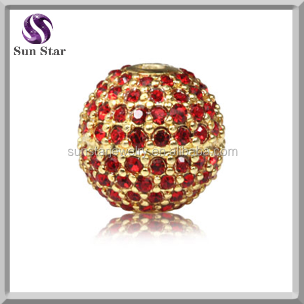 Silver jewelry gold plated red CZ pave Charms round beads jewelry accessory Fit DIY Bracelets & Necklaces& Pendants