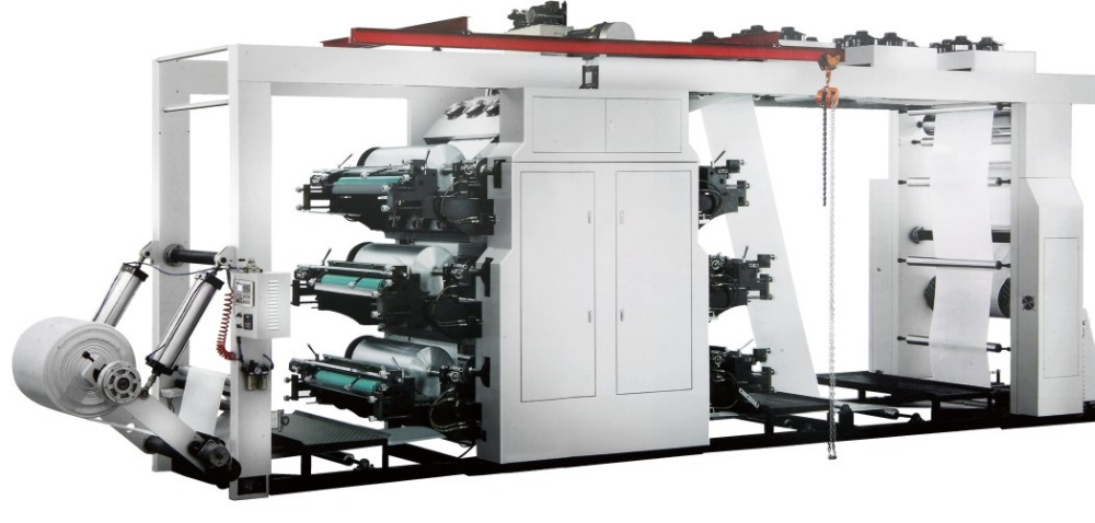 Stack type roll to roll 6 color flexo printing machine