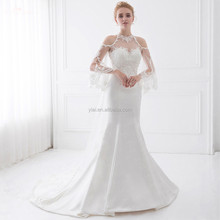 LZ190 Queen Anne Wedding Dresses With Detachable Train Mermaid Beaded Fabric Wedding Dresses