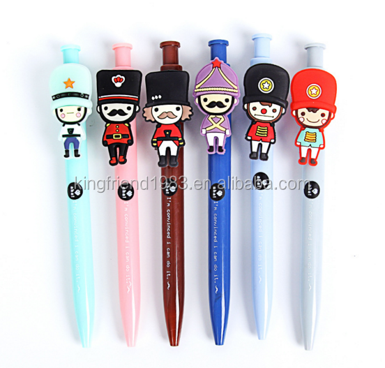 Wholesale custom plastic cartoon character head promotional ball pen