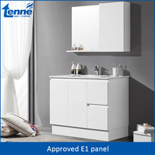 Popular project wholesale White Lacquer E1 wooden bathroom vanity cabinet