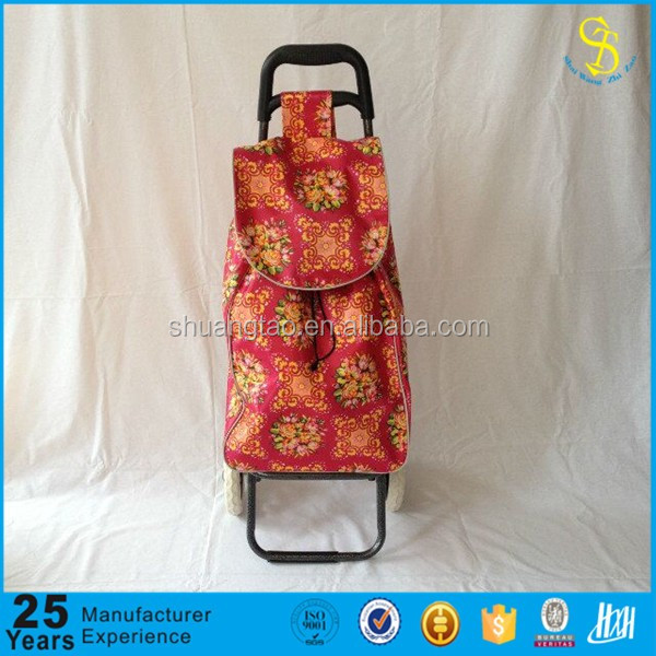 Foldable polyester shopping cart bag, Suppermarket foldable shopping trolley bag made in China
