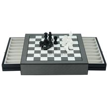 Deluxe Wooden Chess Board Game Set with Drawer for Checkers Storage
