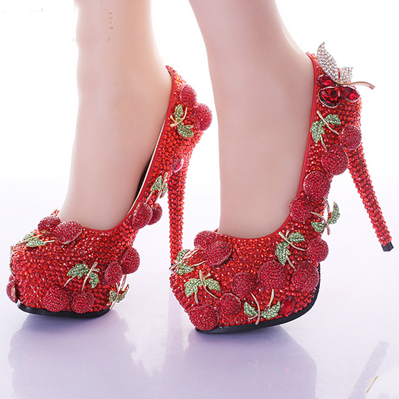 wedding prom party shoes red rhinestone cherry design