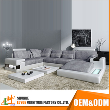 popular style OEM ODM latest design leather corner sofa fashionable u shape 5 seater sofa set with storage