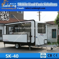 Attractive fiberglass Mobile Food Cart- Food Vending Trailer -Catering Van design
