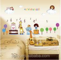 MJ7024 lovely cartoon Cartoon animal children music room DIY kid home decorate Wall Sticker
