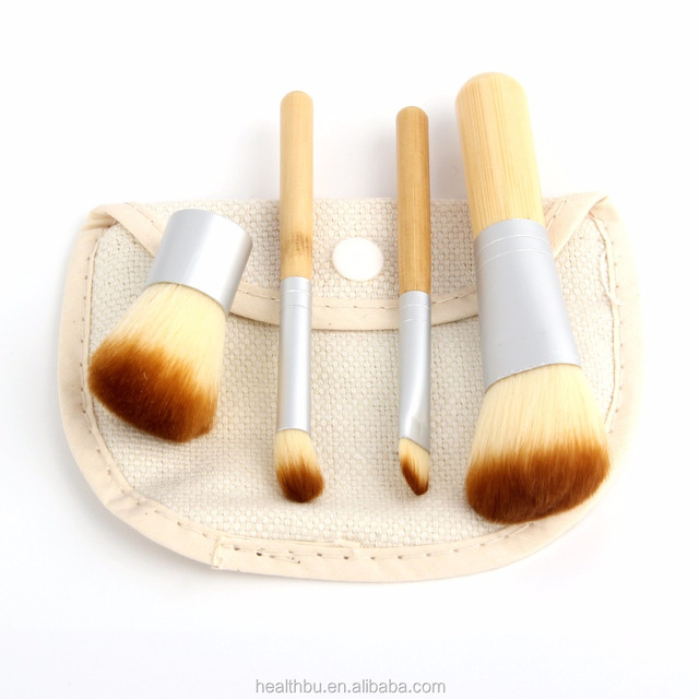 4 Pcs Makeup Brush Set Bamboo Handle Premium Synthetic Kabuki Foundation Blending Blush Eye shadow Concealer Powder Brush