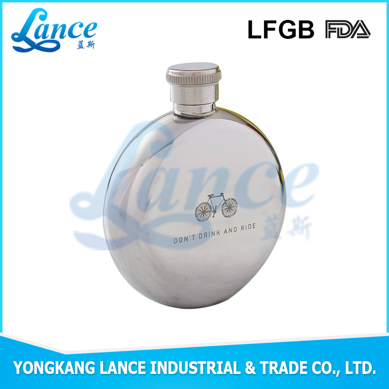 New model 3oz stainless steel round bottom hip flask
