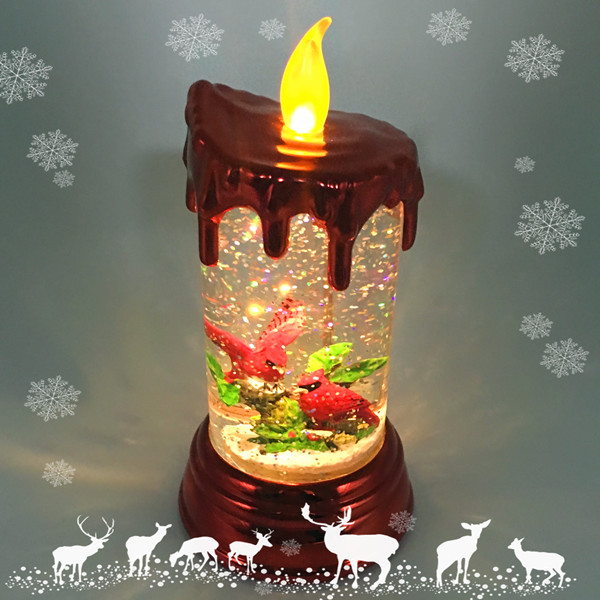 LED Lighted Holiday Glow Candle with cardinal scene