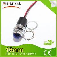 FILN 16mm dia metal 3v 6v 12vdc low voltage blue led indicator signal pilot light lamp