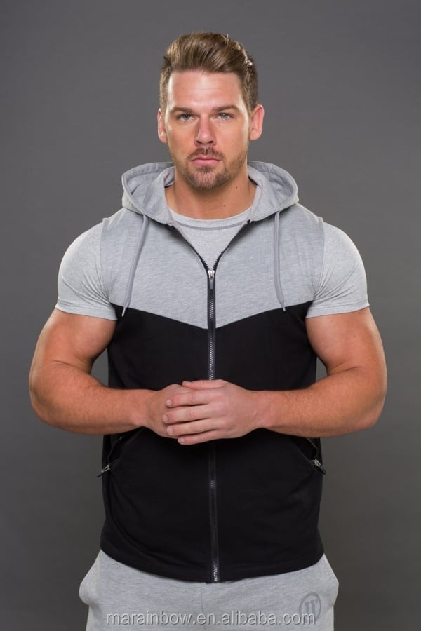 New Design Performance Cut Off Zip Hoodie Panel Gym Fitted Hoodie Top Tech Fleece Mens Sleeveless Hoodie