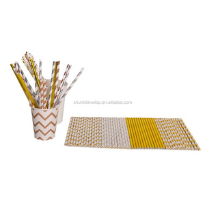 eco-friendly diposable paper straw New Party Crazy Sell metal Gold silver rose gold Foil Paper Straws for drinking
