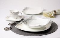 20pcs Luxury Modern Square Fine Bone China Dinnerware Dinner Set with Silver Design for 4 person