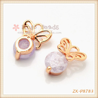 Rose Gold LIGHT PURPLE ZIRCON BUTTERFLY PENDANT NECKLACE
