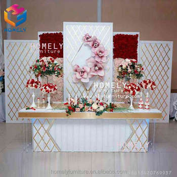 New Design decorationpanels curtains stainless Steel glass crystal wood base hollow out backdrop pipe and drape for wedding