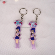 Wholesale the Cartoon woman soft pvc key ring/toyota keychain/floating key chain
