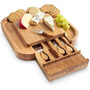Natural personalized custom logo Bamboo Cheese Board set Cutlery Set with Slide Out Drawer